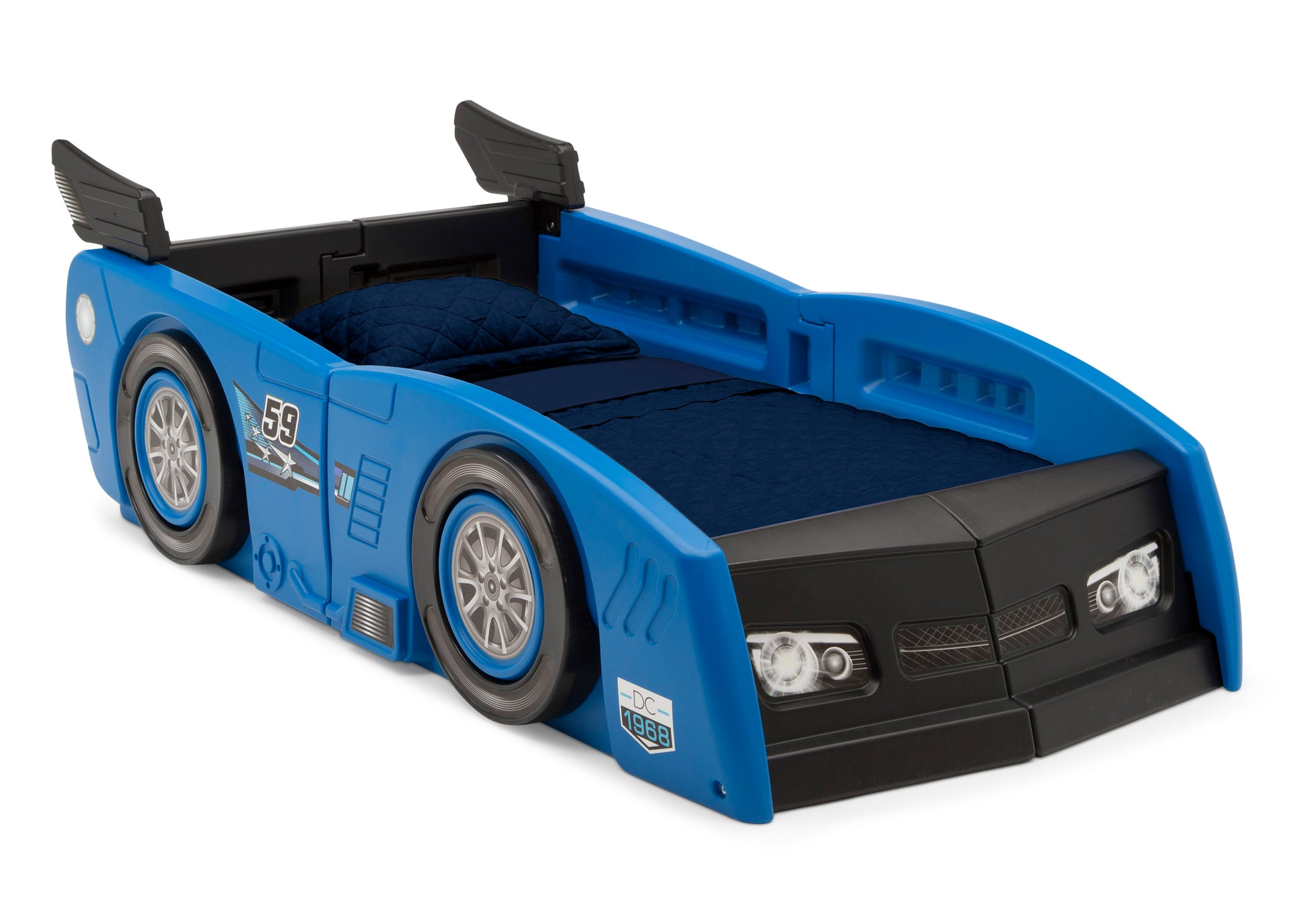Delta Children Blue & Black (485) Grand Prix Race Car Toddler-to-Twin Bed, Toddler Right Silo View