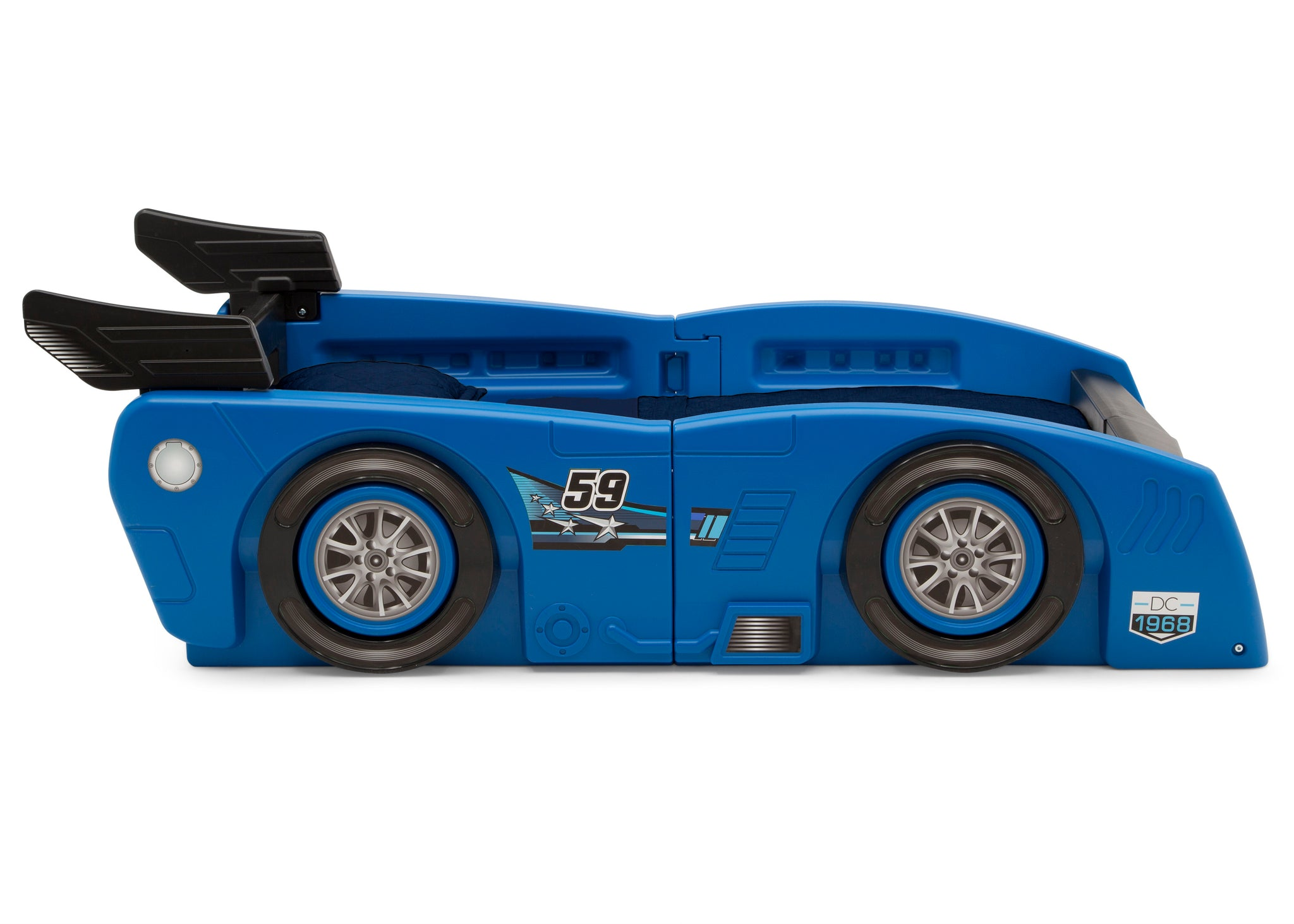 Delta Children Blue & Black (485) Grand Prix Race Car Toddler-to-Twin Bed, Toddler Side Silo View