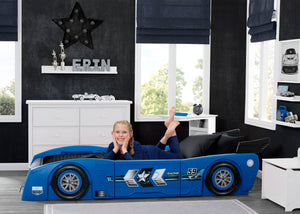 Delta Children Blue & Black (485) Grand Prix Race Car Toddler-to-Twin Bed, Twin Room View