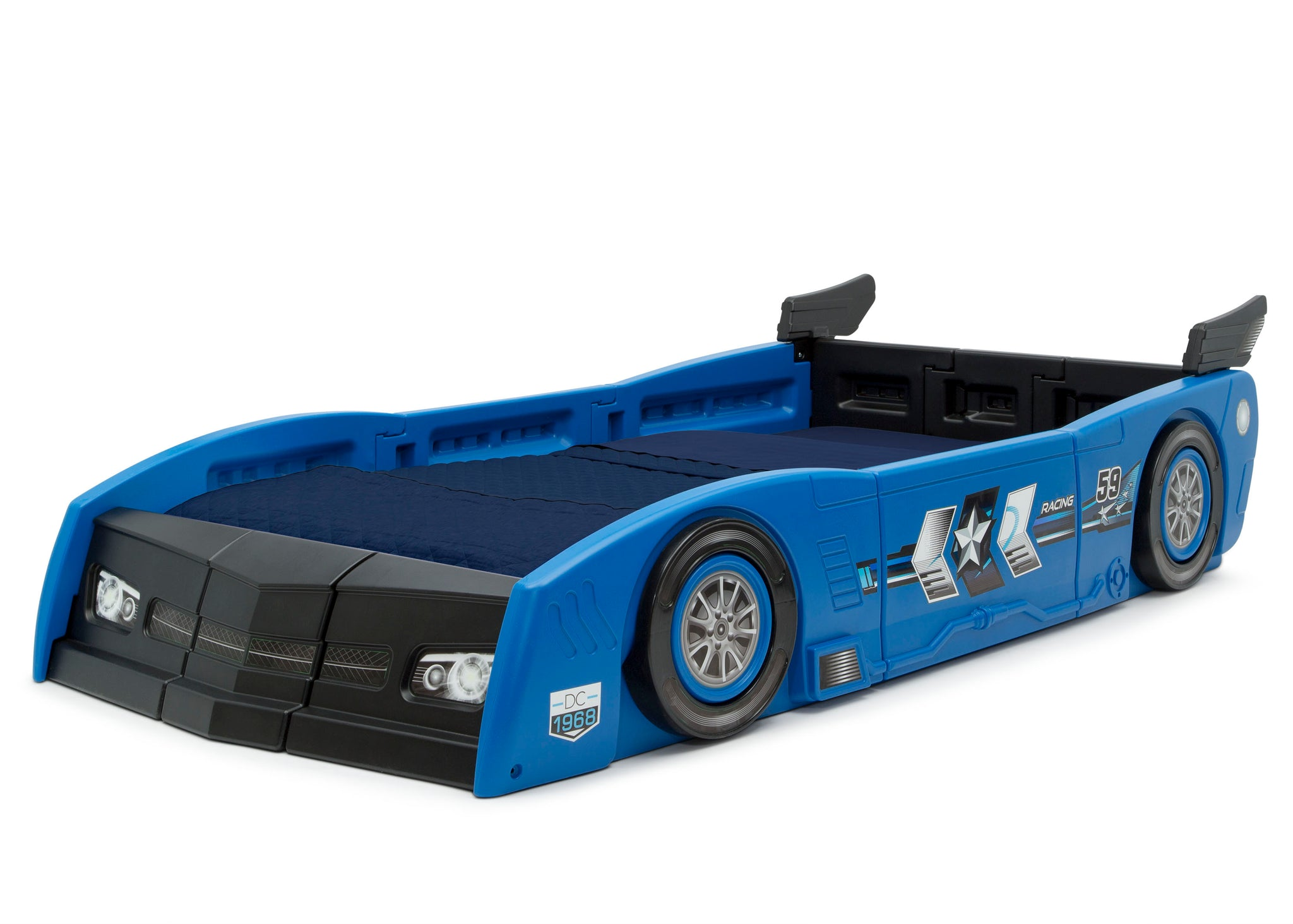 Delta Children Blue & Black (485) Grand Prix Race Car Toddler-to-Twin Bed, twin left View