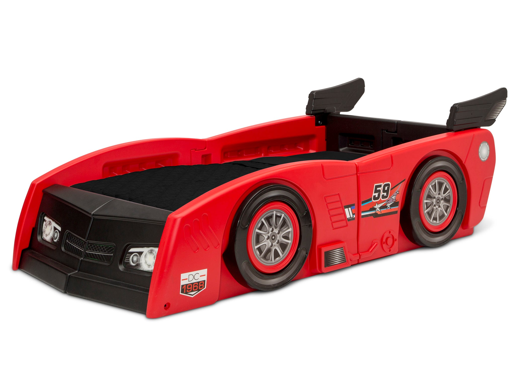 Delta Children Red & Black (620) Grand Prix Race Car Toddler-to-Twin Bed, Toddler Left Silo View