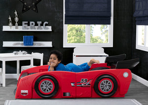 Delta Children Red & Black (620) Grand Prix Race Car Toddler-to-Twin Bed, Toddler Room View