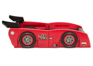 Delta Children Red & Black (620) Grand Prix Race Car Toddler-to-Twin Bed, Toddler Side Silo View