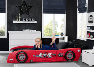 Delta Children Red & Black (620) Grand Prix Race Car Toddler-to-Twin Bed, Twin Room View