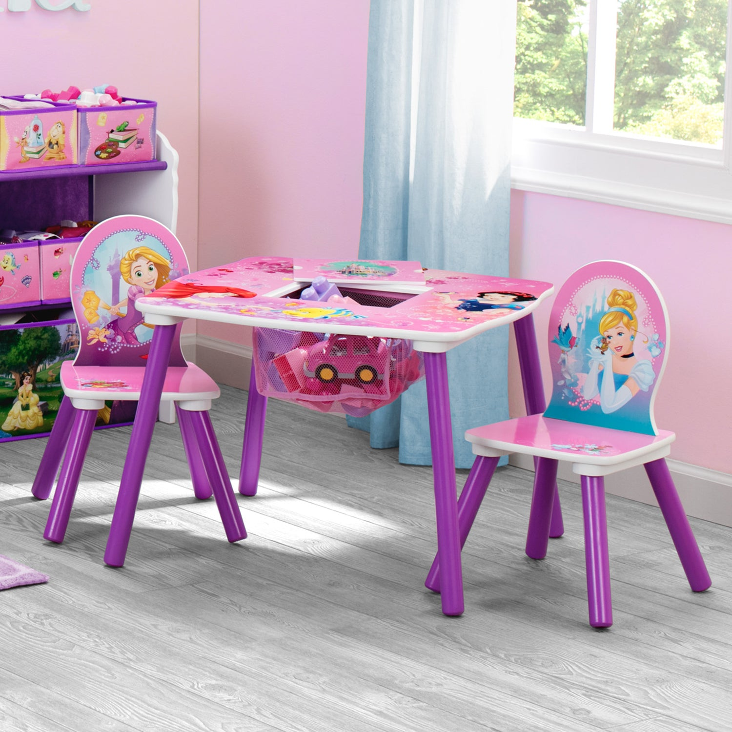 Princess Kids Table and Chair Set with Storage