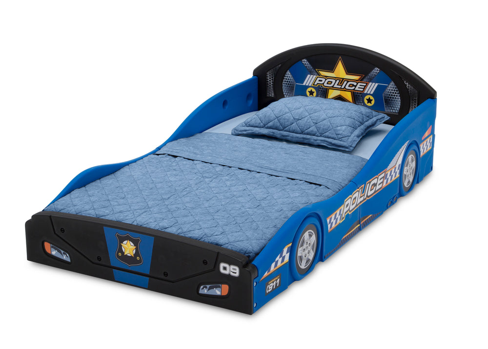 Police Car (999) Plastic Sleep and Play Toddler Bed by Delta Children Left Silo View