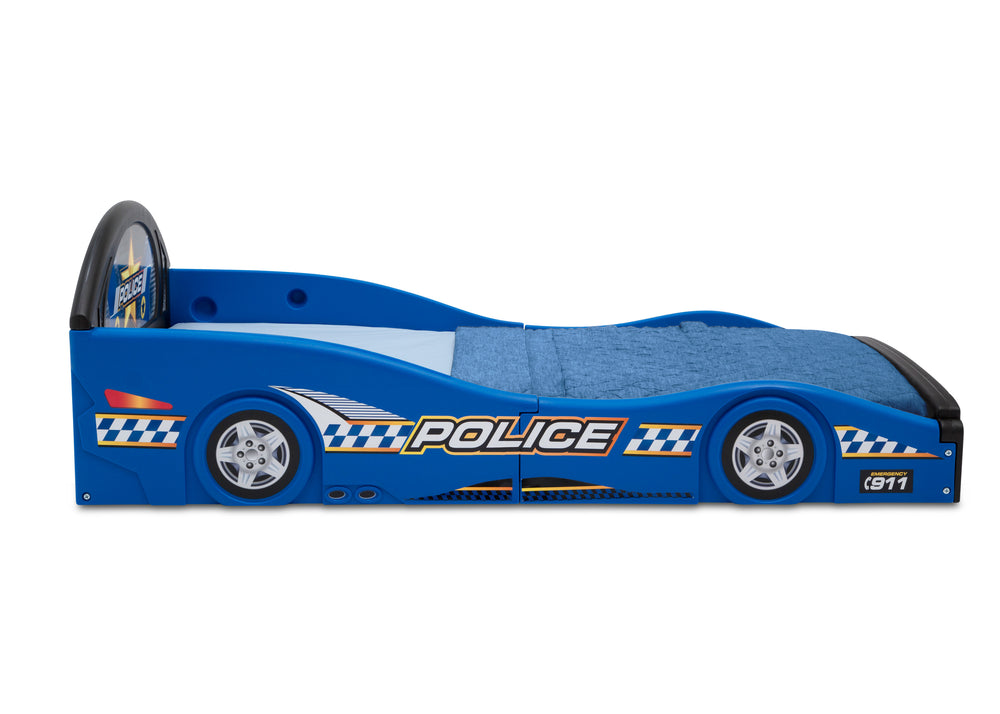 Police Car (999) Plastic Sleep and Play Toddler Bed by Delta Children Side Silo View