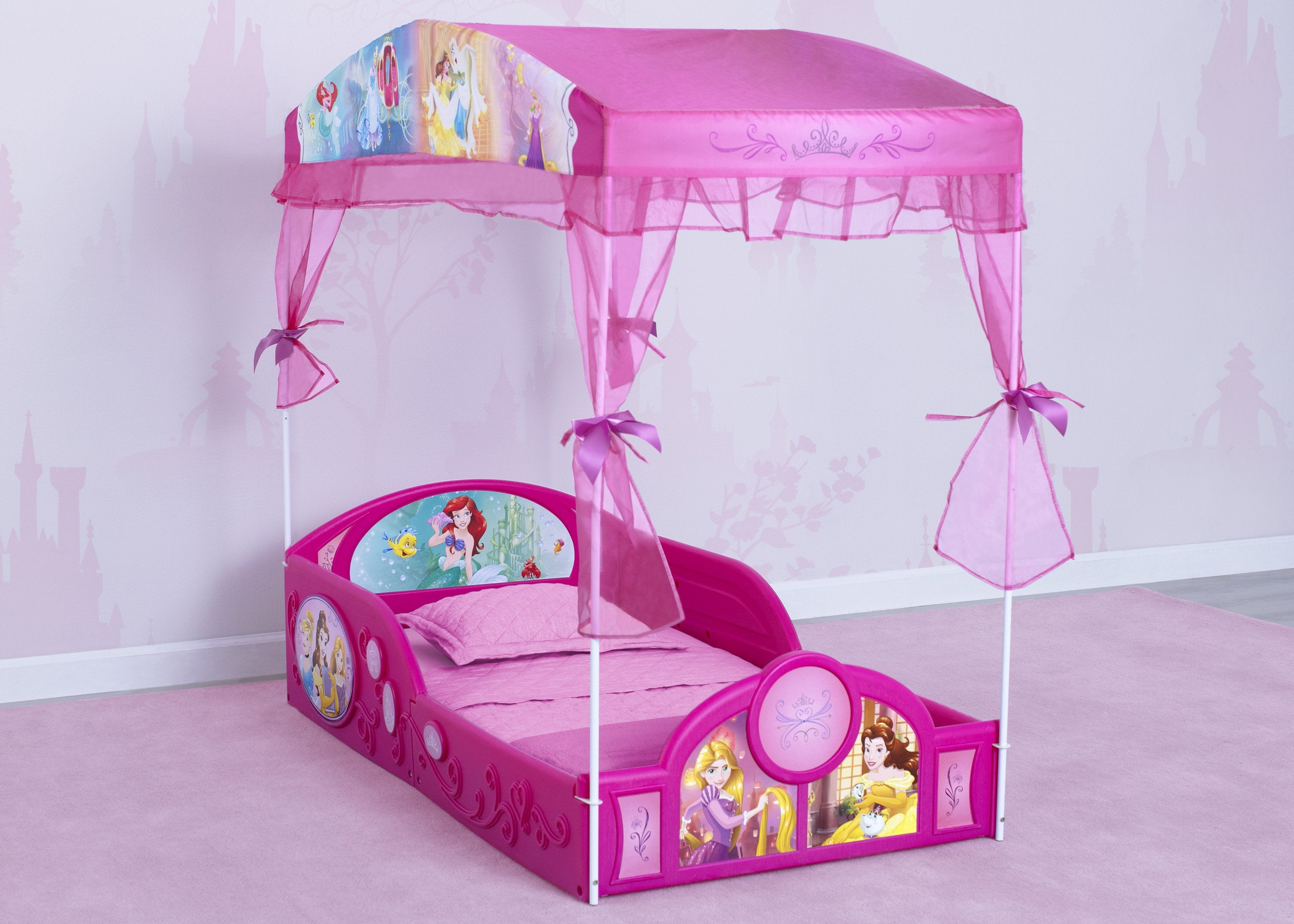 Disney Princess Plastic Sleep And Play Toddler Bed With Canopy By Delt Delta Children