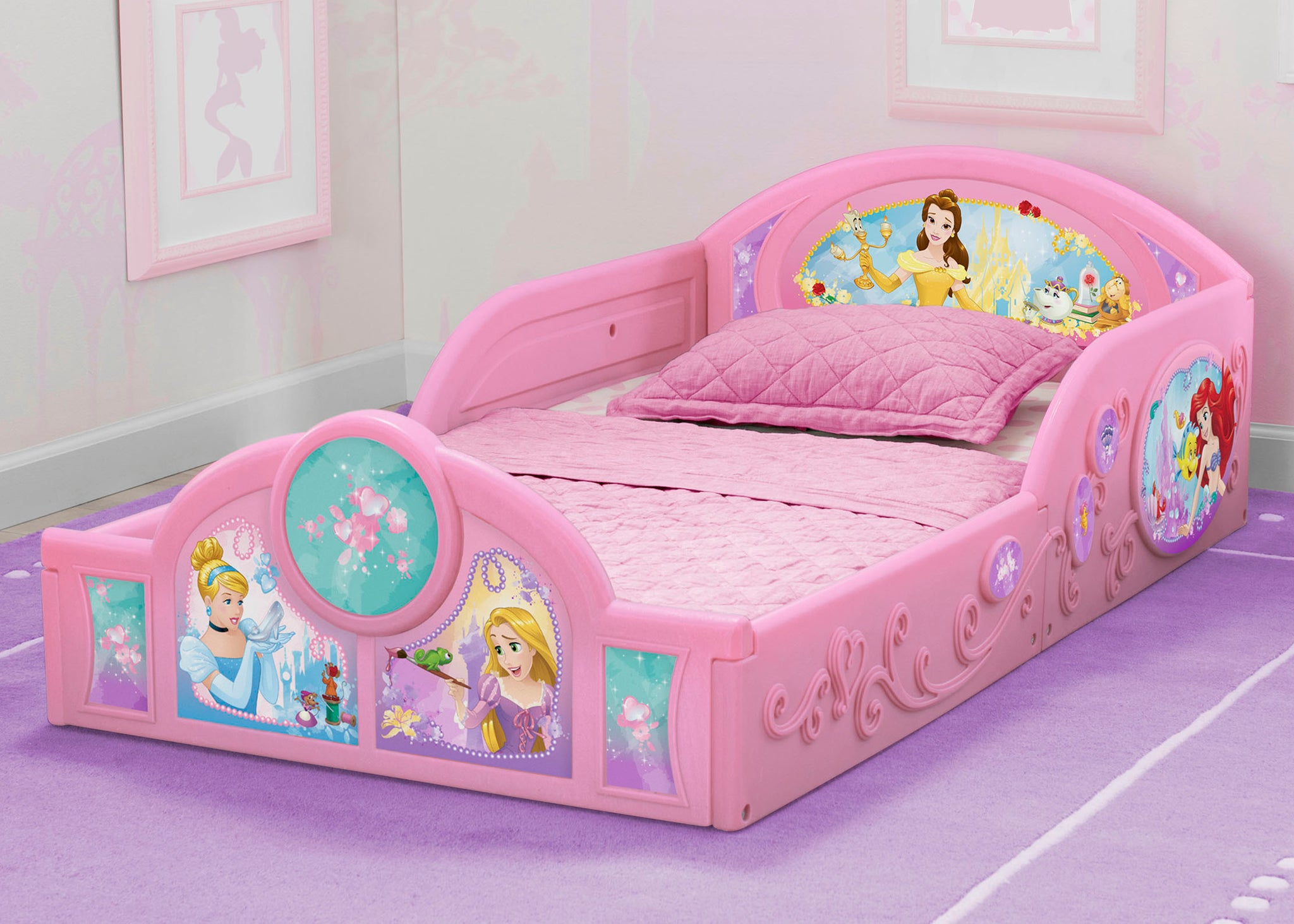 Delta Children Princess Plastic Sleep and Play Toddler Bed, Hangtag View