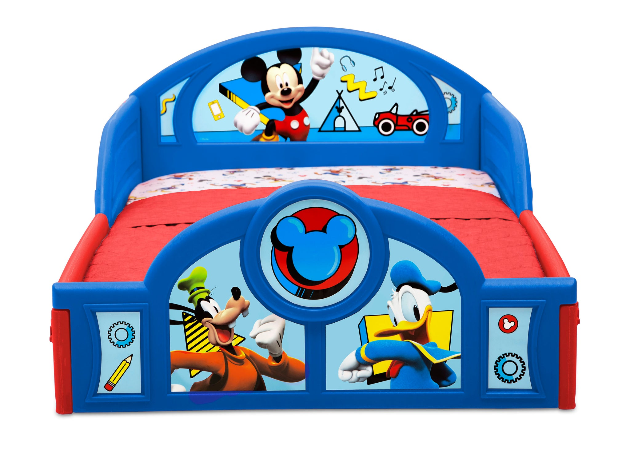 Mickey Hot Dog (1054) Delta Children Mickey Mouse Plastic Sleep and Play Toddler Bed, Footboard Detail View