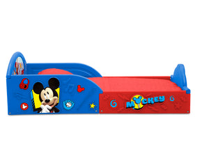 Mickey Hot Dog (1054) Delta Children Mickey Mouse Plastic Sleep and Play Toddler Bed, Side Silo View