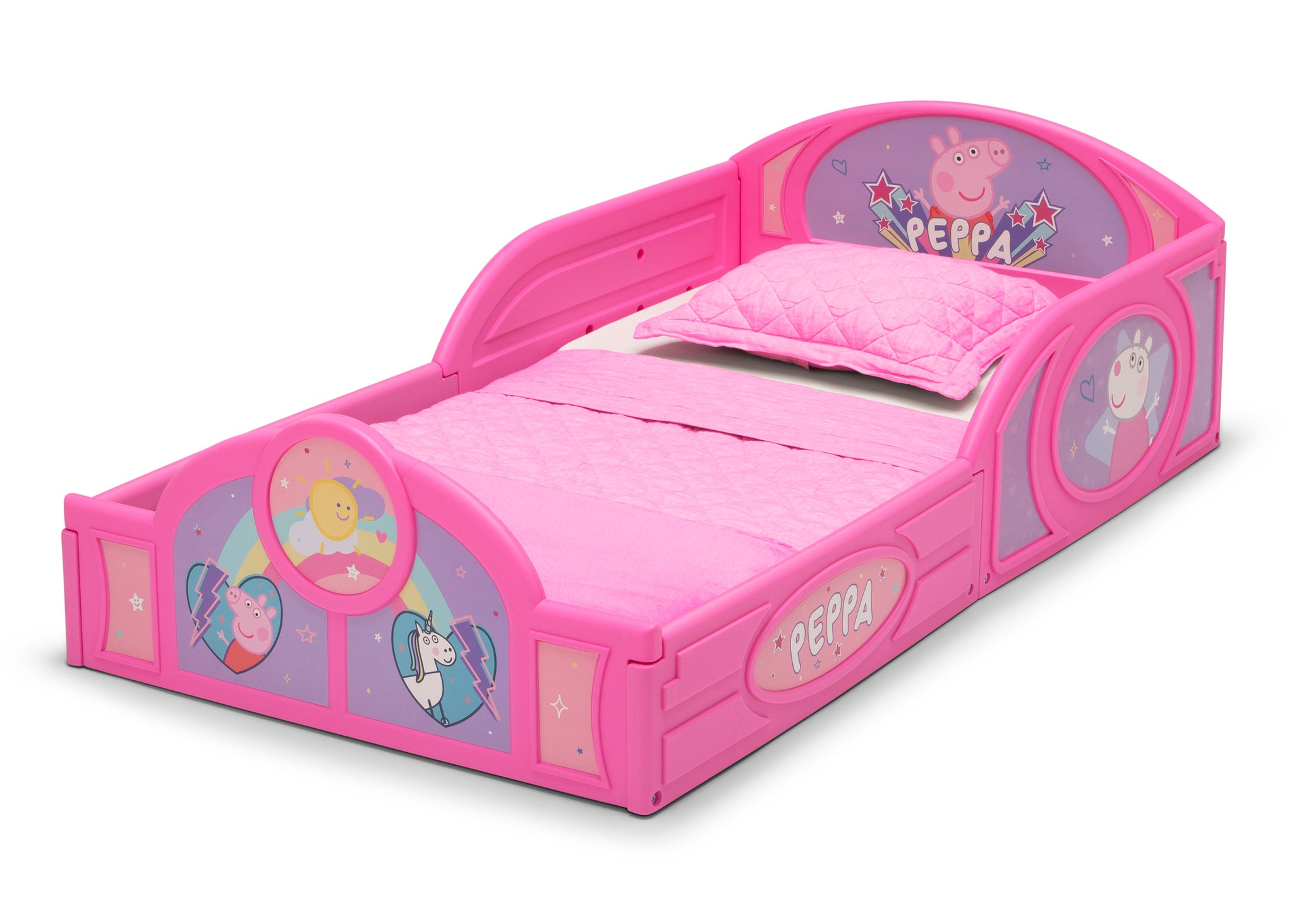 Delta Children Peppa Pig (1171) Plastic Sleep and Play Toddler Bed, Left Silo View