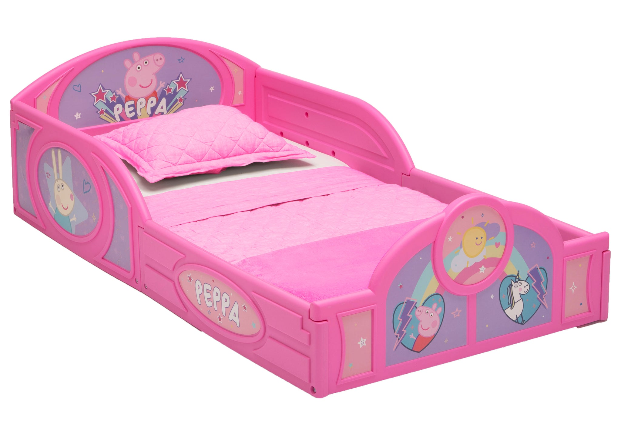 Delta Children Peppa Pig (1171) Plastic Sleep and Play Toddler Bed, Right Silo View