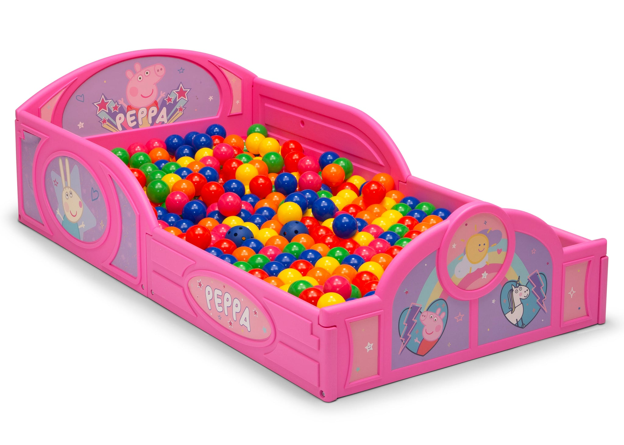 Delta Children Peppa Pig (1171) Plastic Sleep and Play Toddler Bed, Right Silo View Ball Pit
