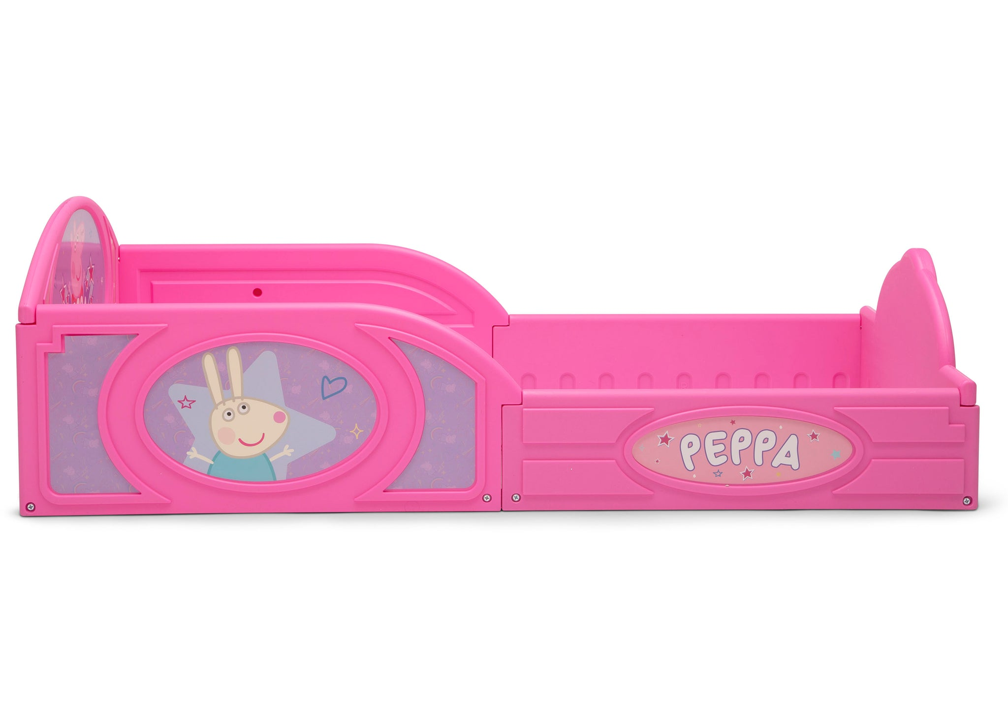 Delta Children Peppa Pig (1171) Plastic Sleep and Play Toddler Bed, Side Silo View