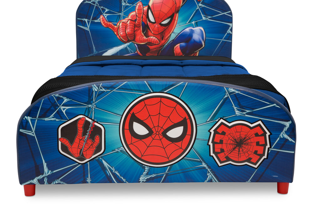 Delta Children Spider-Man Upholstered Twin Bed, Footboard Detail View
