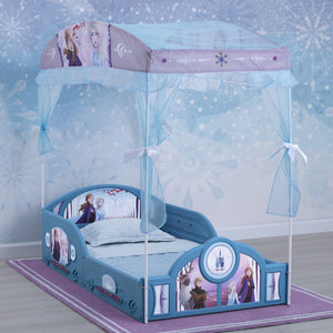 Disney Frozen II Plastic Sleep and Play Toddler Bed with Canopy by Delta Children
