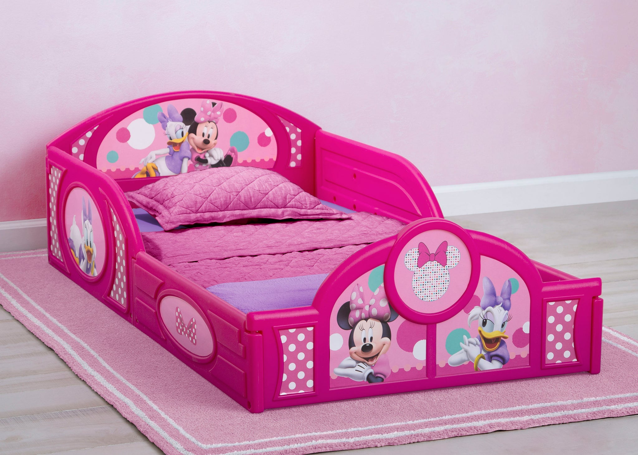 Delta Children Minnie Mouse (1063) Plastic Sleep and Play Toddler Bed, Hangtag View