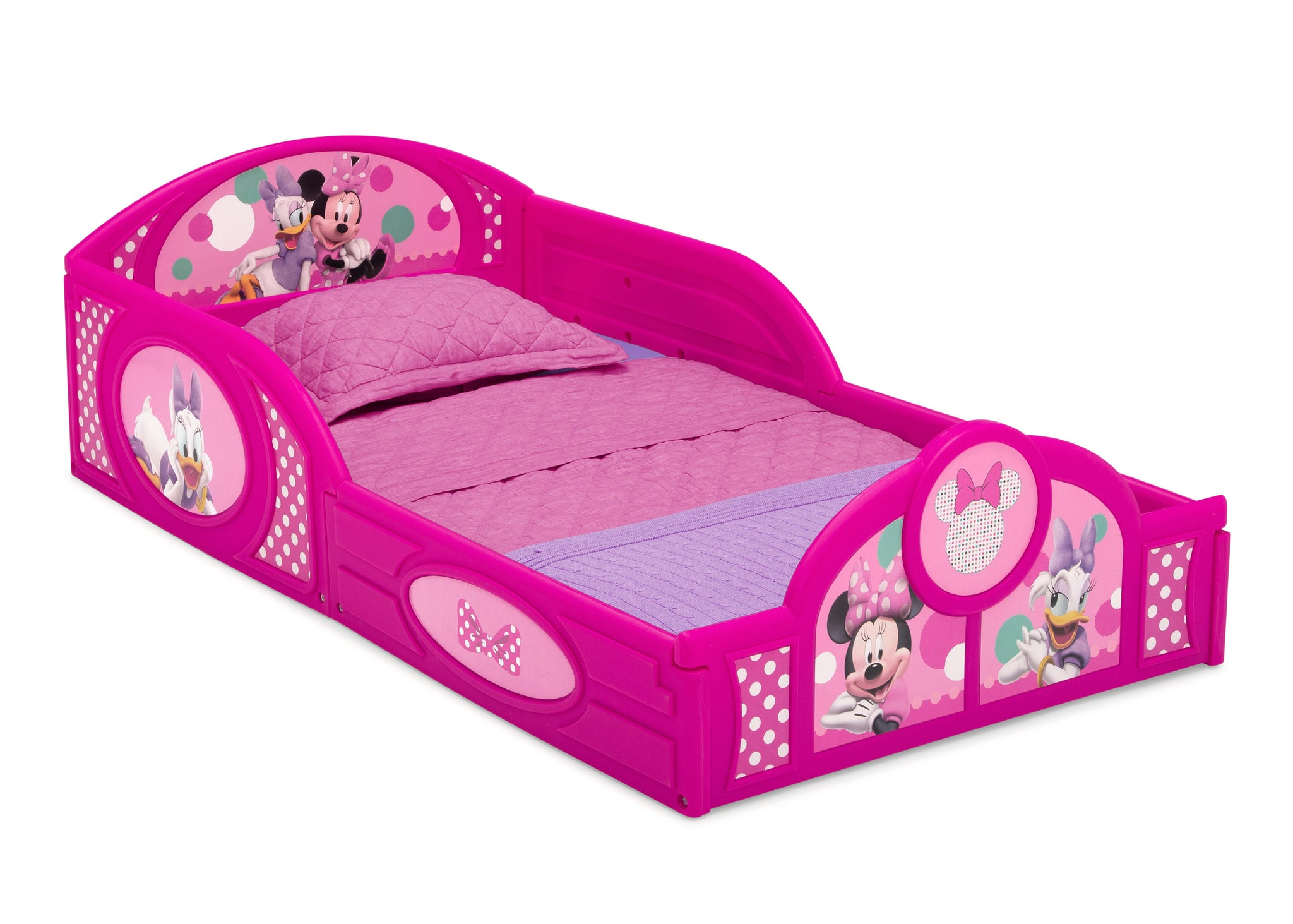 Delta Children Minnie Mouse (1063) Plastic Sleep and Play Toddler Bed, Right Silo View