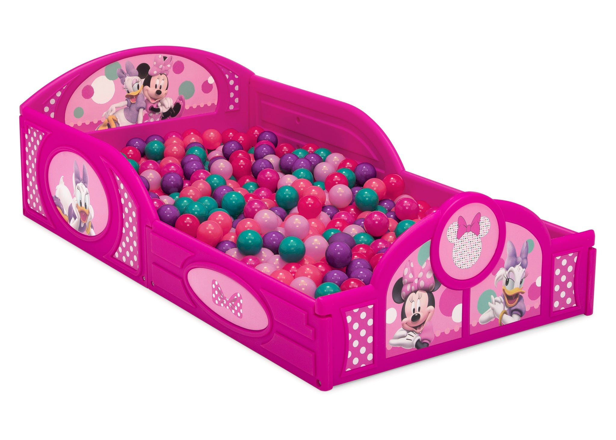Delta Children Minnie Mouse (1063) Plastic Sleep and Play Toddler Bed, Right Silo Ball Pit View