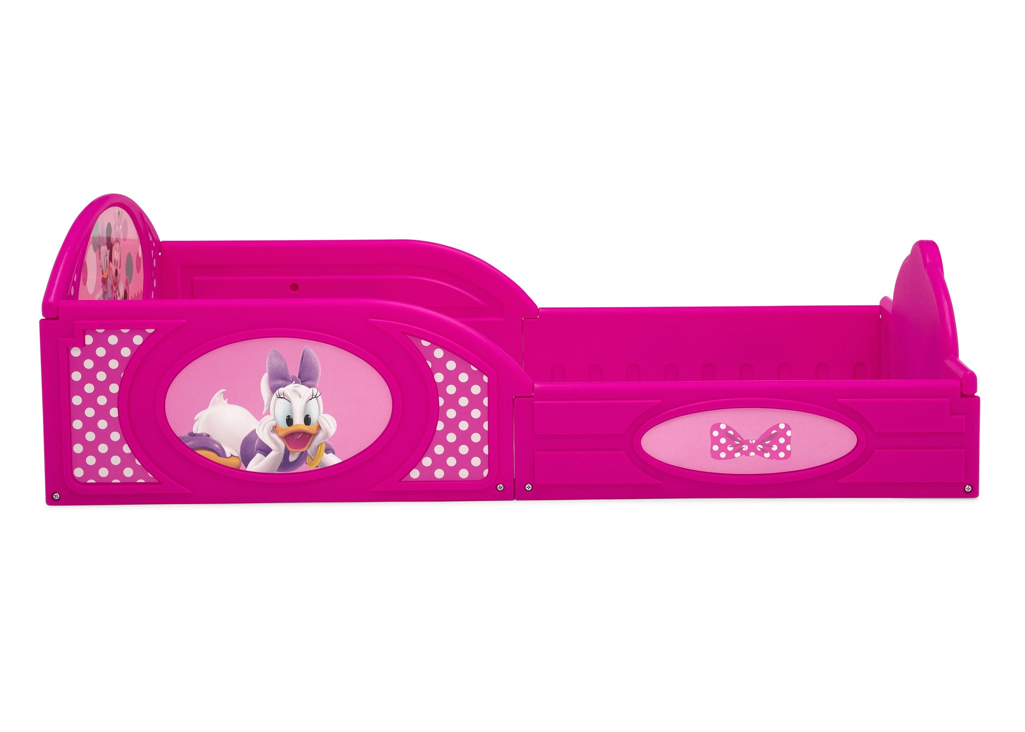 Delta Children Minnie Mouse (1063) Plastic Sleep and Play Toddler Bed, Side Silo View
