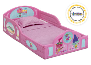 Delta Children Trolls World Tour (1177) Plastic Sleep and Play Toddler Bed, Right Silo View