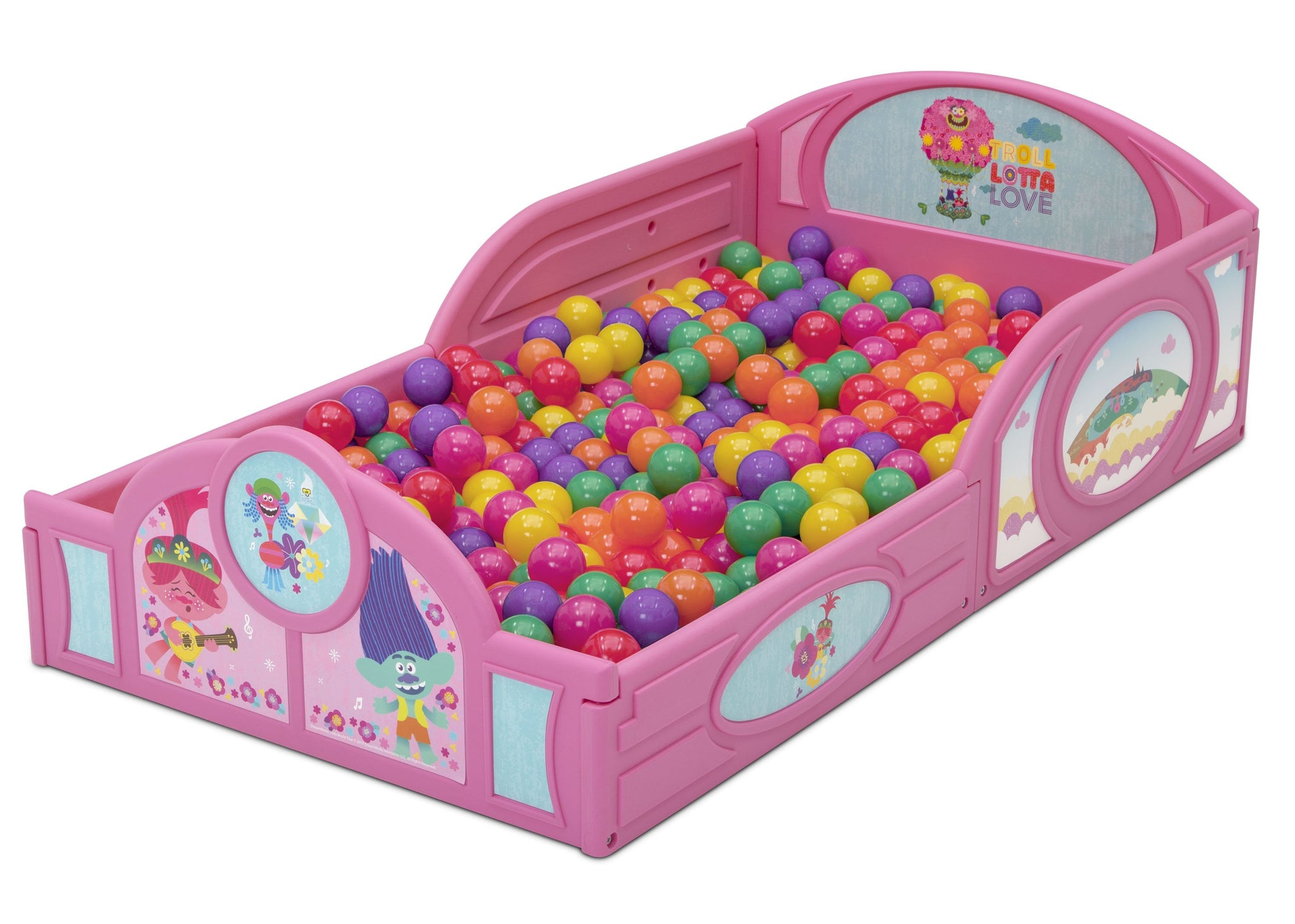 Delta Children Trolls World Tour (1177) Plastic Sleep and Play Toddler Bed, Left Silo View