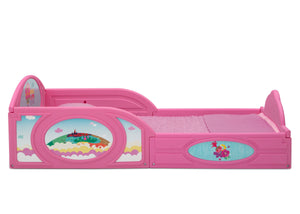 Delta Children Trolls World Tour (1177) Plastic Sleep and Play Toddler Bed, Right Side Silo View