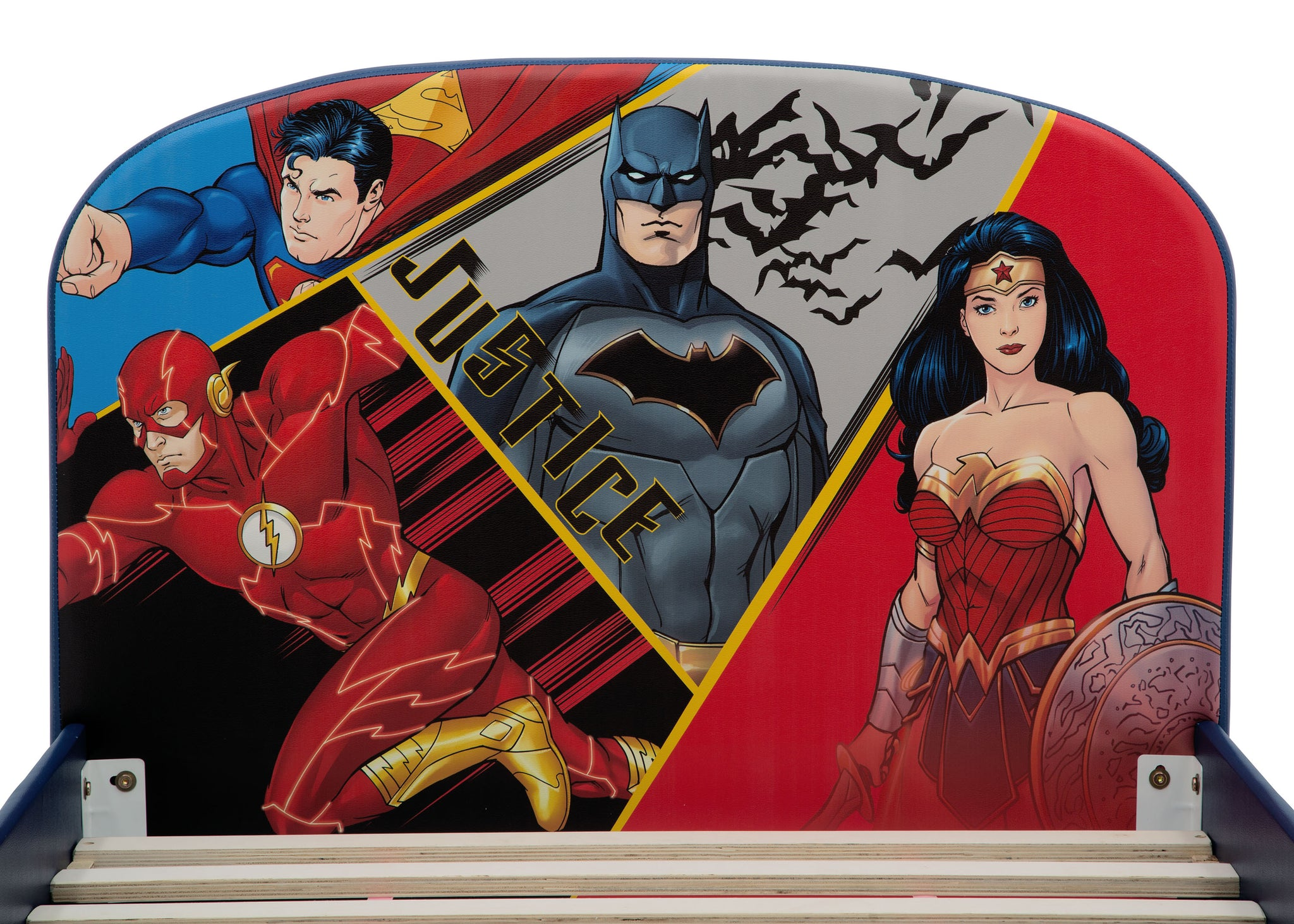 Delta Children DC Comics Justice League Upholstered Twin Bed Justice League (1215), Headboard View a3a