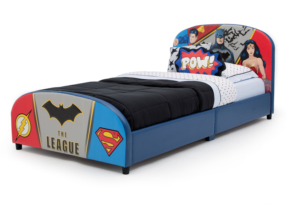 Delta Children DC Comics Justice League Upholstered Twin Bed, Left View a3a