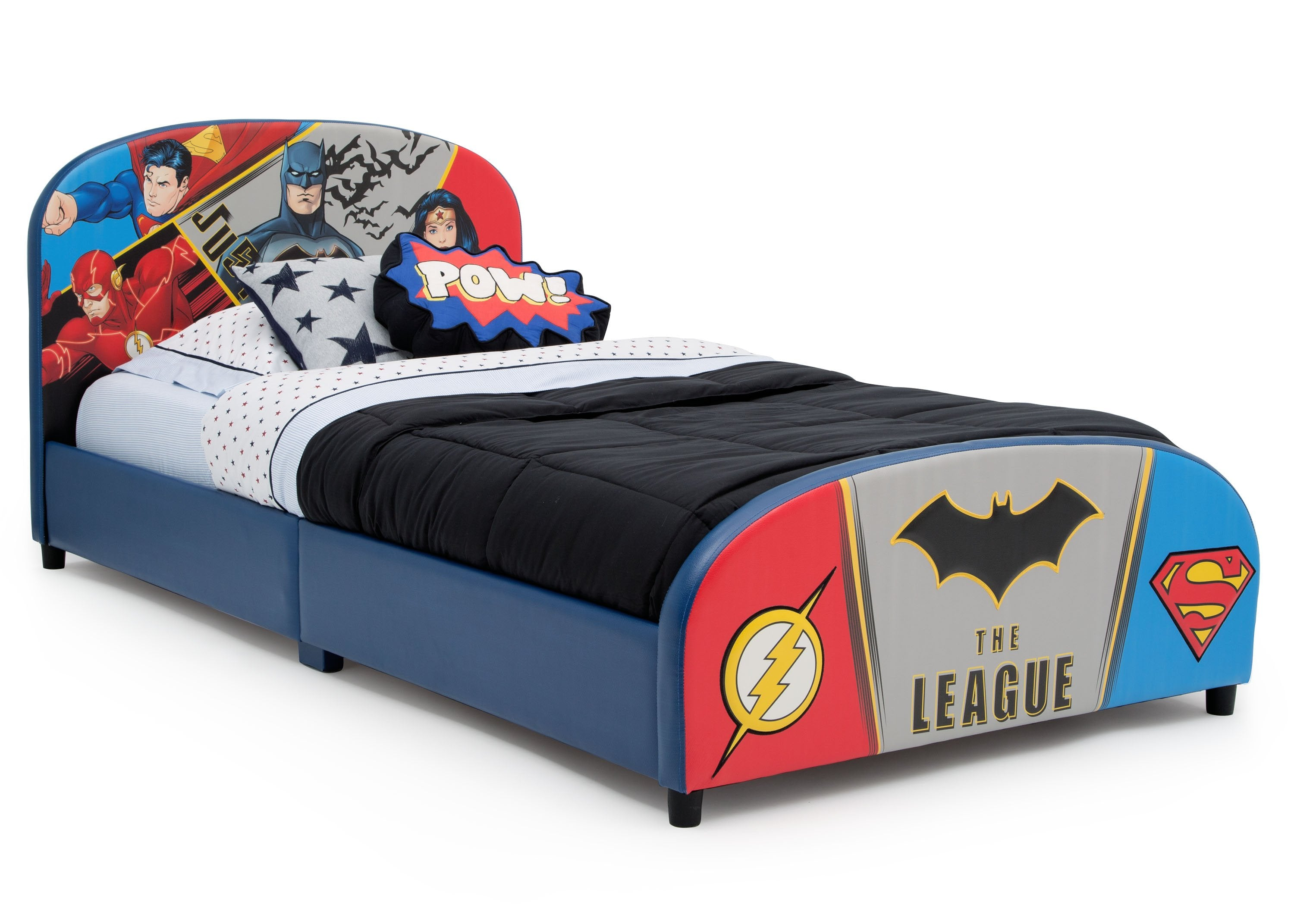 DC Comics Justice League Upholstered Twin Bed | Delta Children
