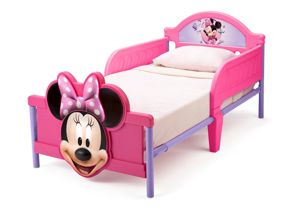Delta Children Minnie Mouse 3D Footboard Toddler Bed Left Side View a3a