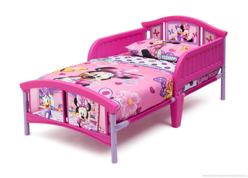 Delta Children Disney Minnie Mouse Plastic Toddler Bed Left Side View a3a