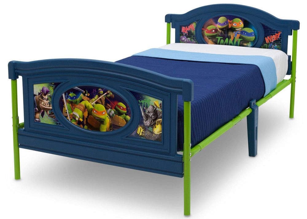 Delta Children Teenage Mutant Ninja Turtles Deluxe Plastic Twin Bed, Left View, without Guardrails