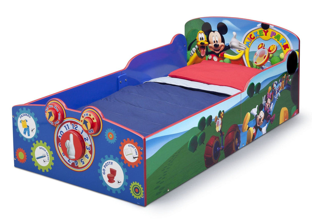 Delta Children Mickey Mouse Interactive Wood Toddler Bed, Left View a2a