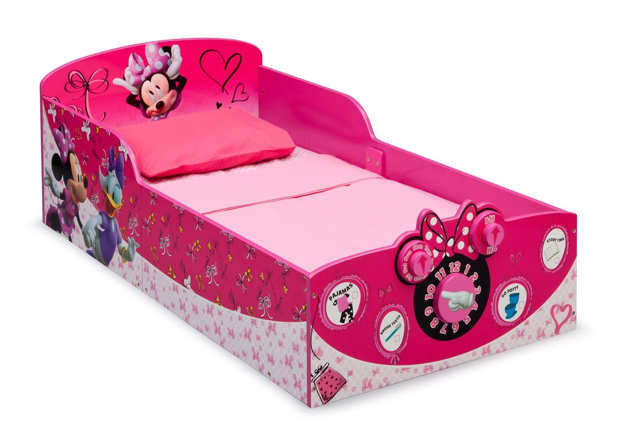 Delta Children Minnie Mouse Interactive Wood Toddler Bed Right View A1a