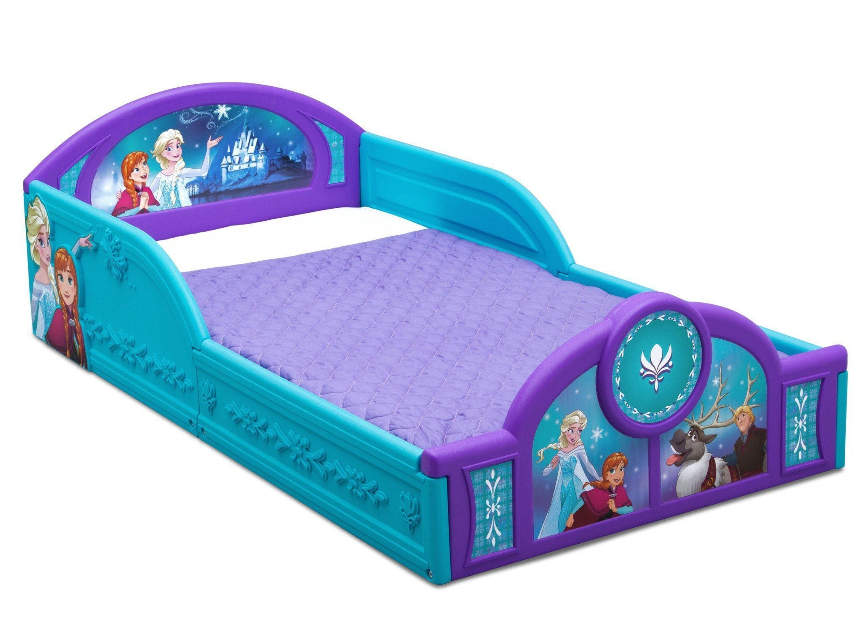 Disney's Frozen Deluxe Toddler Bed with Attached Guardrails,