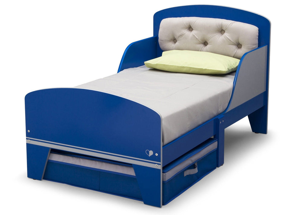 Delta Children Blue And Grey Jack and Jill Toddler Bed with Upholstered Headboard Style 1, Left View a3a