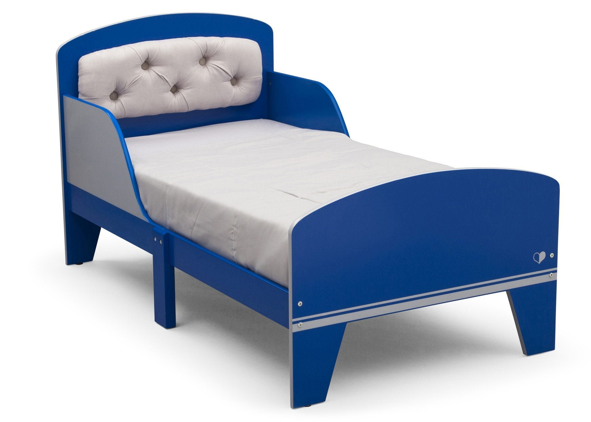 Delta Children Blue And Grey Jack and Jill Toddler Bed with Upholstered Headboard Style 1, Right View a2a