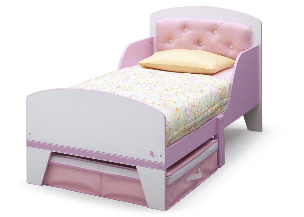 Jack And Jill Toddler Bed With Upholstered Headboard Pink And White