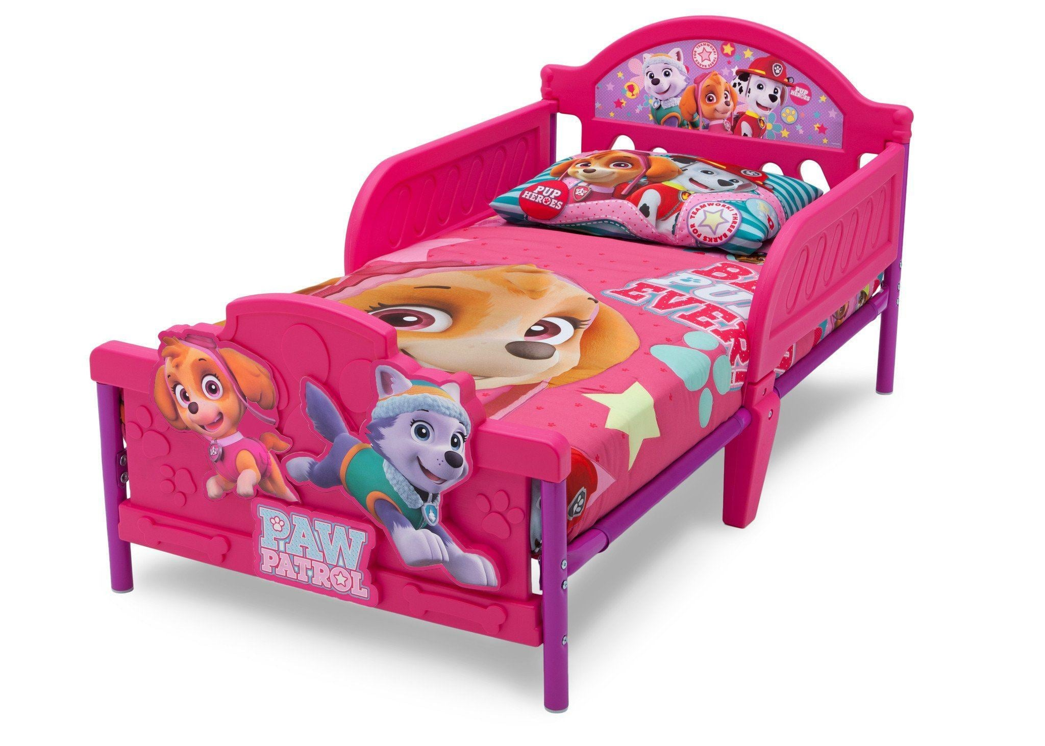 delta children paw patrol skye everest 3d toddler bed left view a3a - Paw Patrol Toddler Bedding