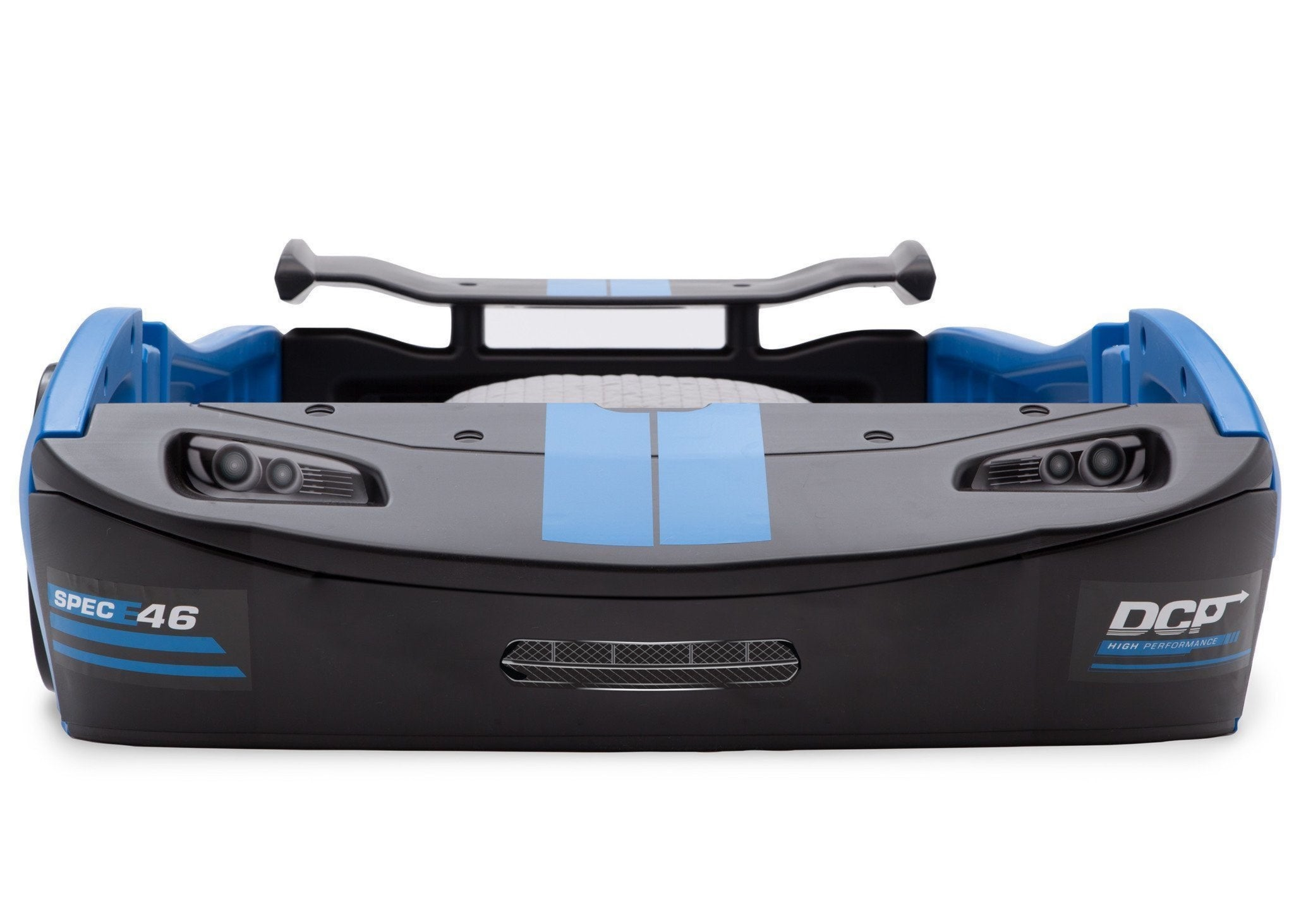 Delta Children Turbo Race Car Twin Bed, Blue and Black (485), Front View a2a