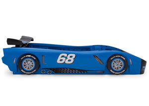 Delta Children Turbo Race Car Twin Bed, Blue and Black (485), Side View a5a