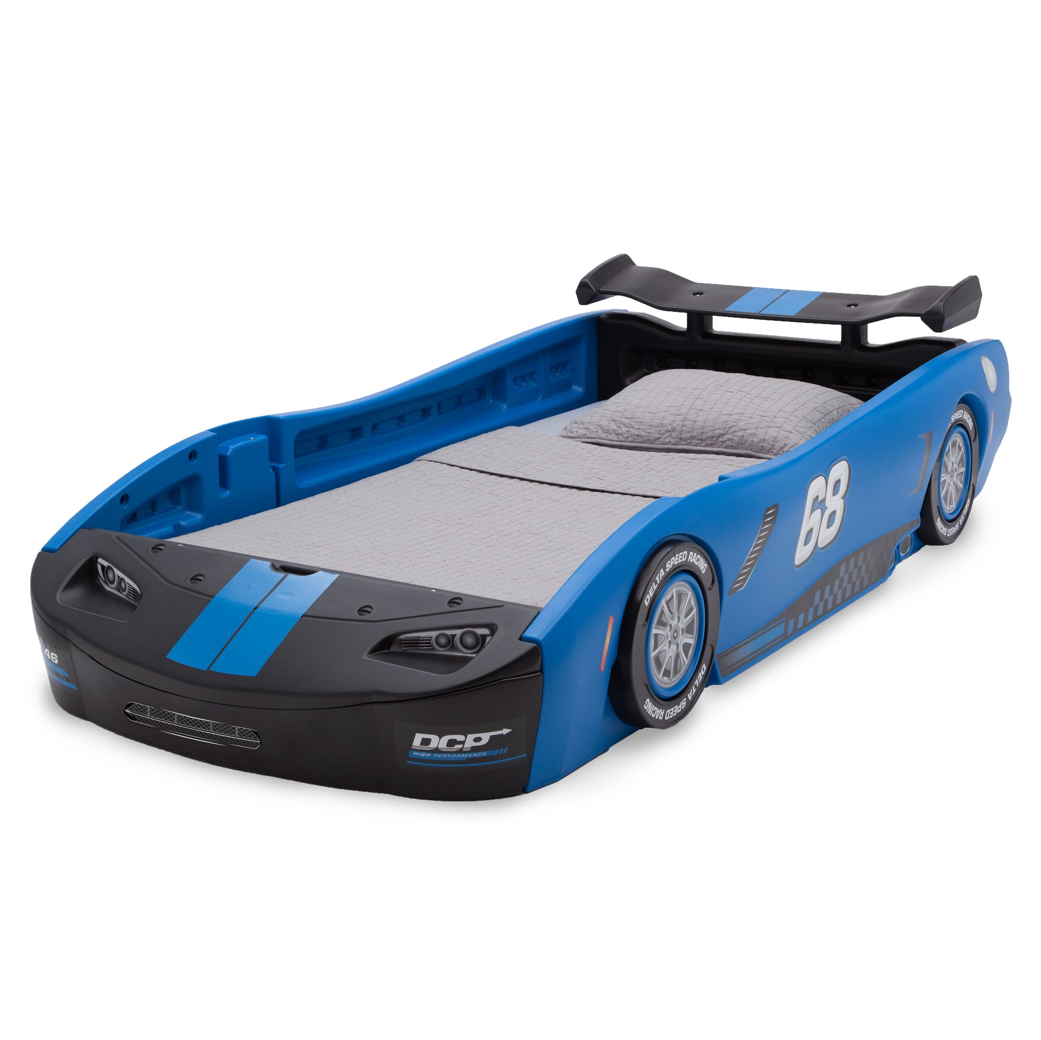Delta Children Turbo Race Car Twin Bed, Blue and Black (485), Left View a3a