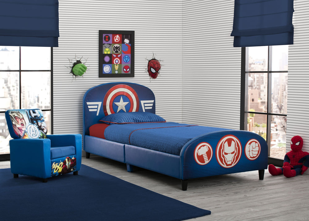 Delta Children Avengers Upholstered Twin Bed, Room View a1a