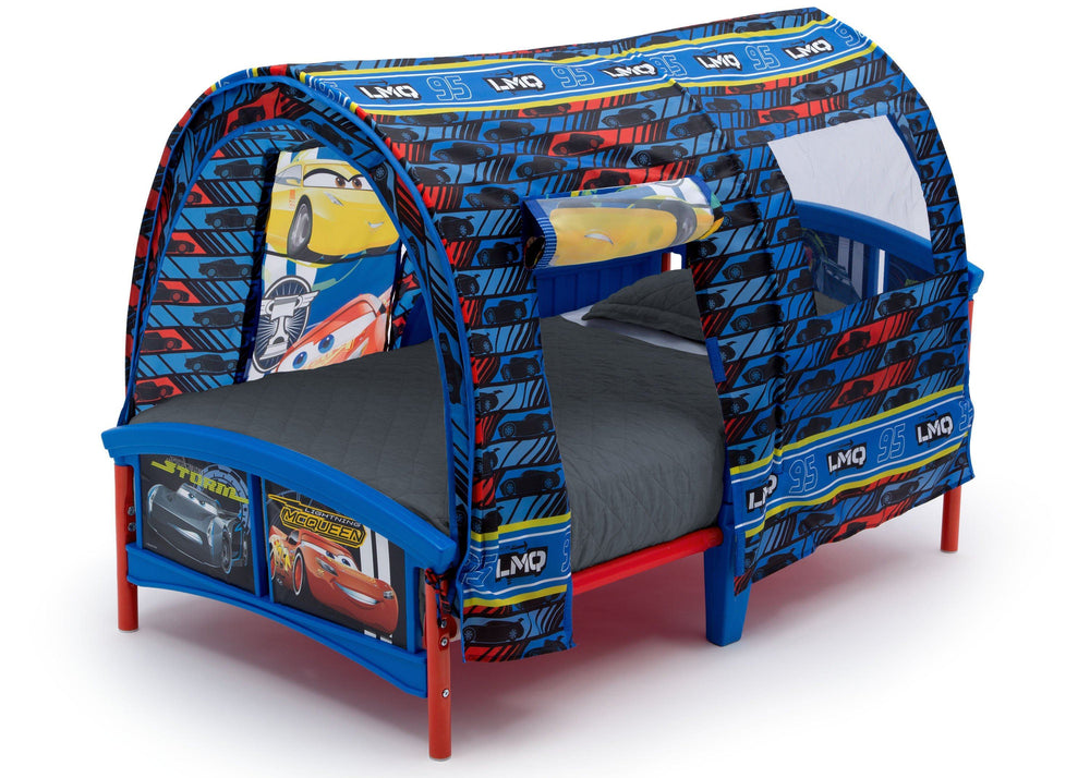 Delta Children Cars Toddler Tent Bed, Left Side View with Flap Down, a2a