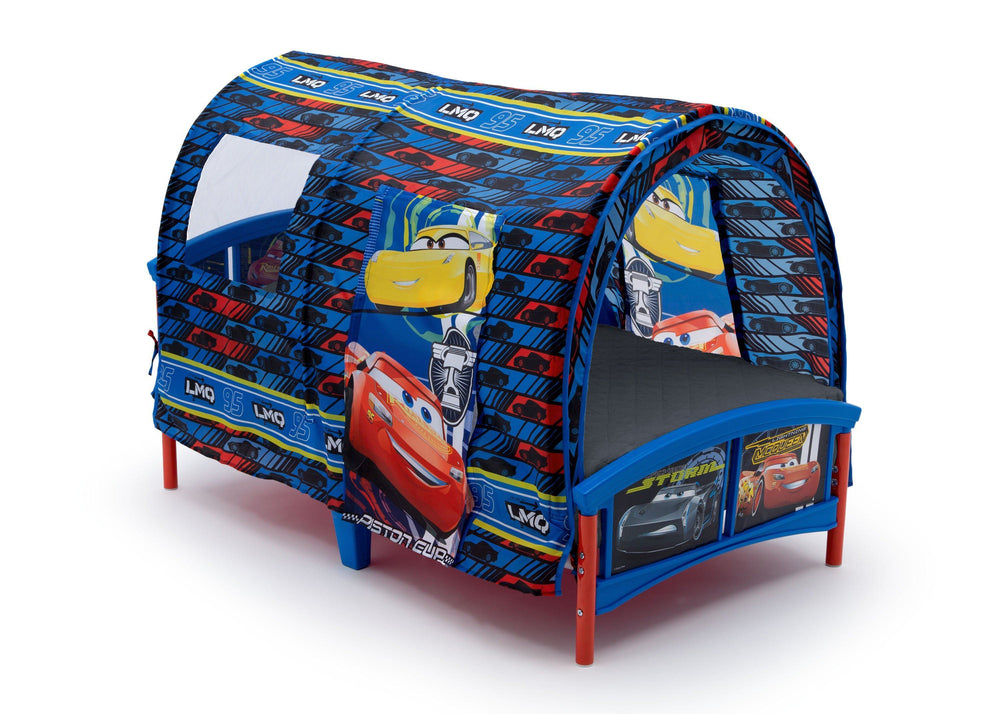 Delta Children Cars Toddler Tent Bed, Right Side View with Flap Up, a1a