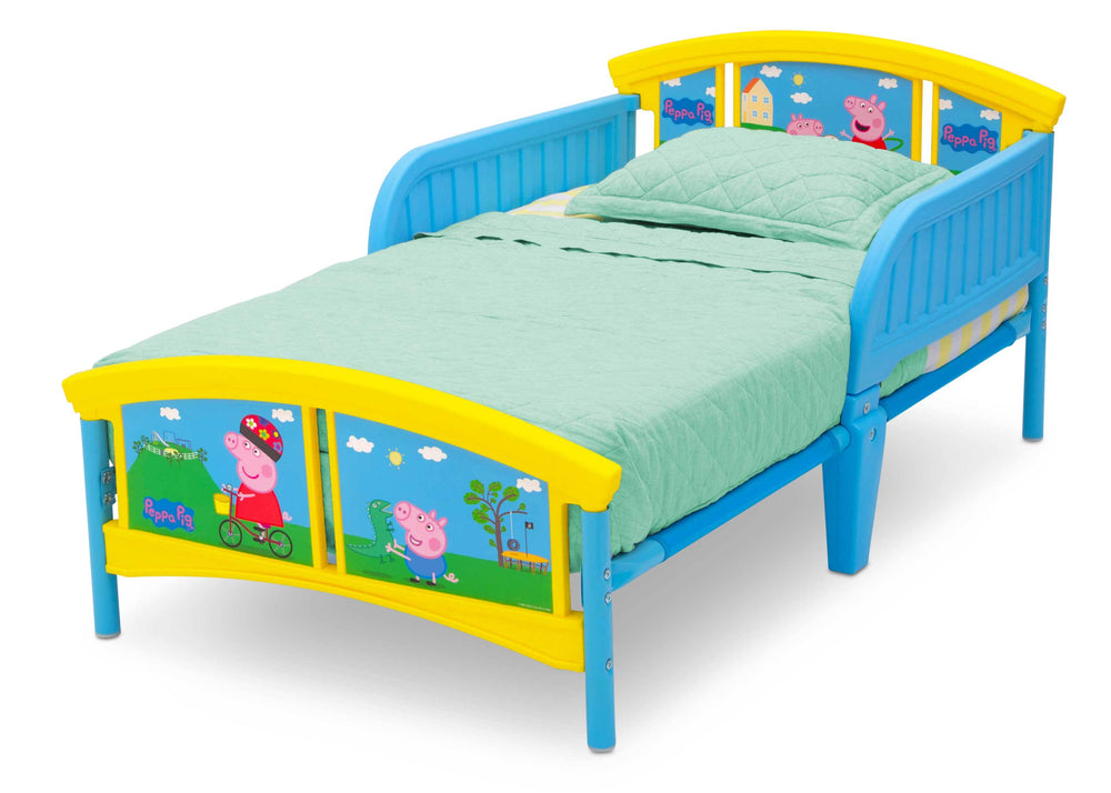 Delta Children Peppa Pig Plastic Toddler Bed (BB87131PG-1171), Left Angle, a2a
