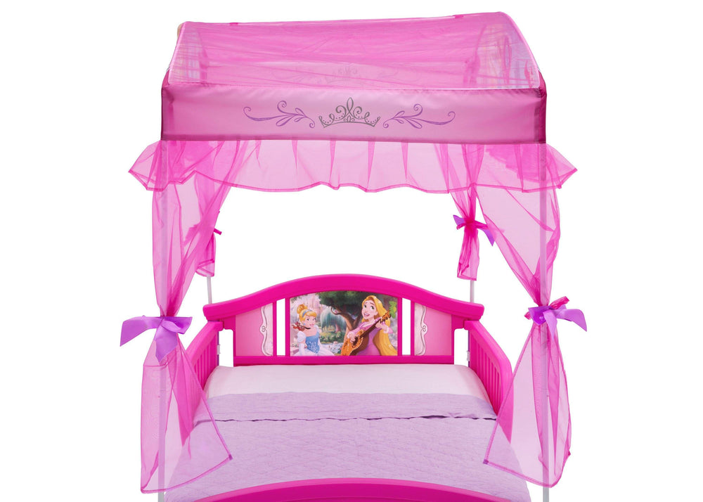 Delta Children Princess Canopy Toddler Bed Detail Headboard and Canopy View a3a