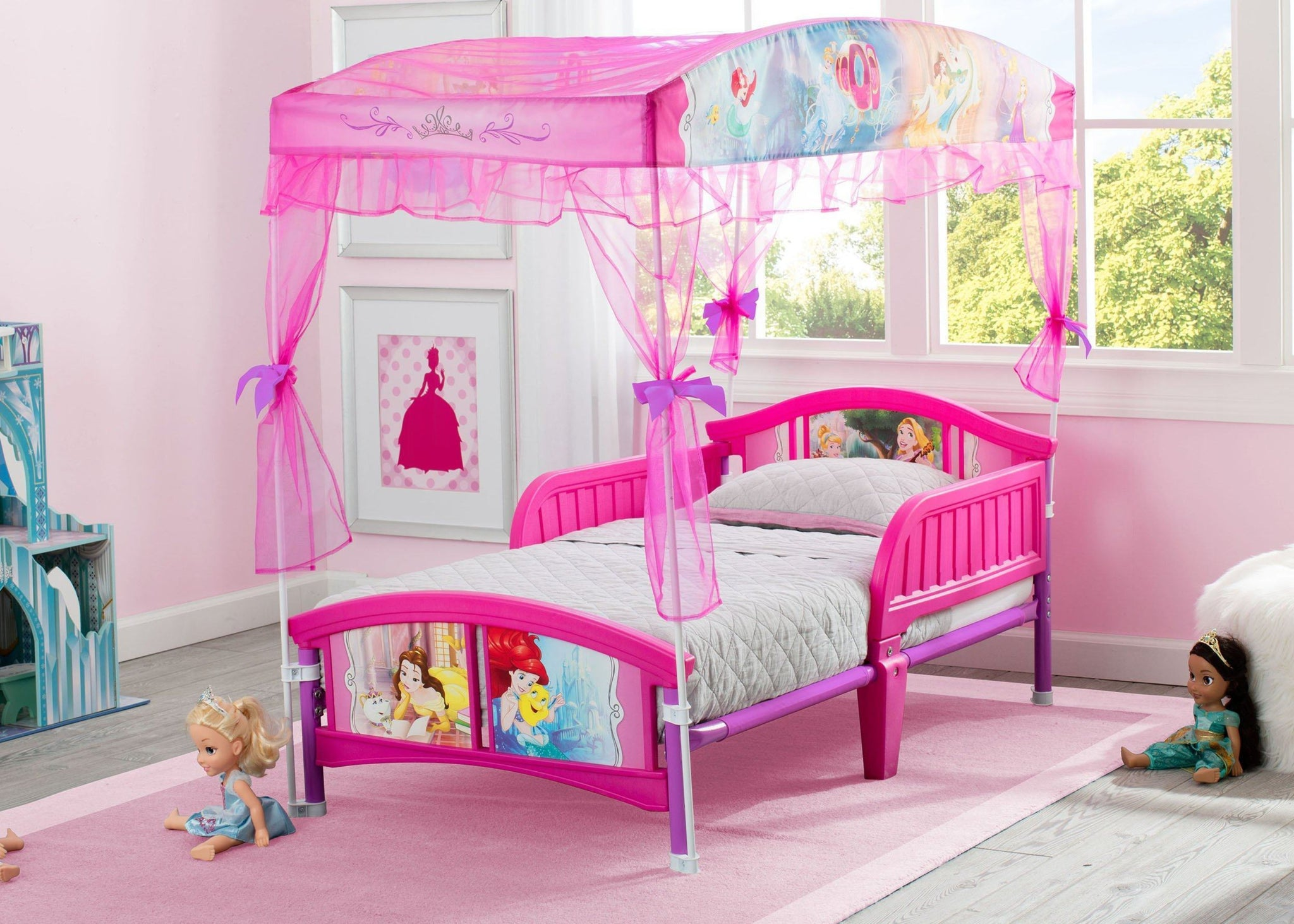 Delta Children Princess Canopy Toddler Bed Room View a1a Disney Princess (1034)